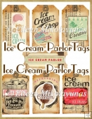 Old Fashion Summer Ice Cream Parlor Tag Set