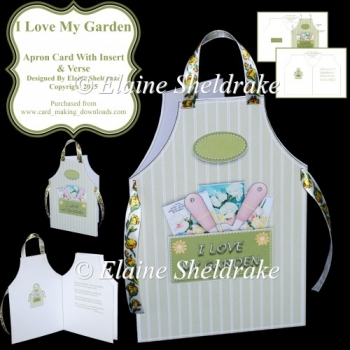 I Love My Garden - Cut & Fold Apron Card With Insert & Verse