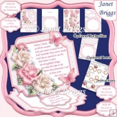 PINK & WHITE ROSES Large Easel Card Kit 7.7 All Occasions