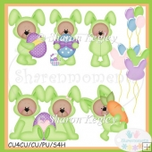 Easter Bear Bunny Green 2 Clip Art