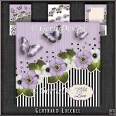 Vintage Stripes and Flowers Card Kit purple 1121
