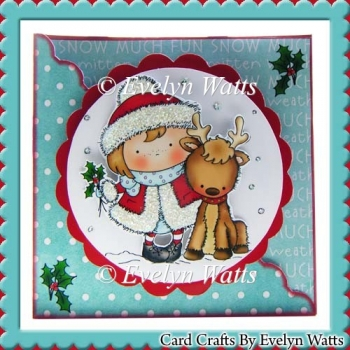 Cute Holly Reindeer Shaped Christmas Card Kit