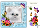 White Persian Kitten Cat & Pansies 8 x 8 Decoupage Card Topper