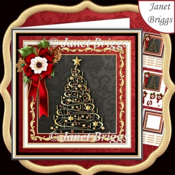GOLD CHRISTMAS TREE 7.7 Decoupage & Insert Kit