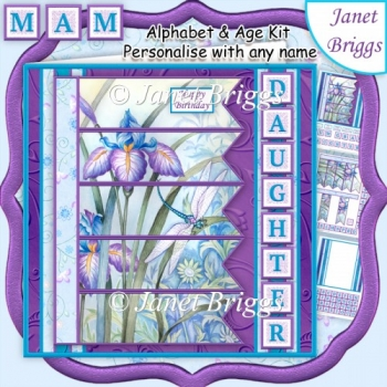 IRIS & DRAGONFLY 7.5 Alphabet and Age Quick Card Create Any Name