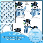 Blue Christmas Snowman Decoupage Set