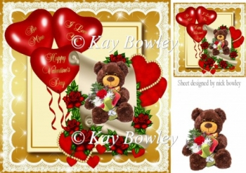 teddy bear on scroll with hearts and red roses 8x8