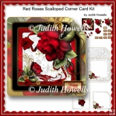 Red Roses Scalloped Corner Card Kit