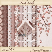 10 x A4 red leafs cardstock