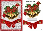 Christmas gold bells with big red bow & holly A5