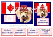 Canadian Puppy Dog & Maple Leaf Flag - Card Toppers & Greetings