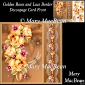 Golden Roses and Lace Border Decoupage Card Front