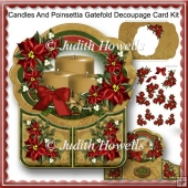 Candles And Poinsettia Gatefold Decoupage Card Kit