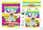 Dog & Bone Rainbow Bright Card Topper With Decoupage