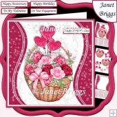 PINK ROSE BASKET 7.5 Decoupage & Insert Mini Kit All Occasions