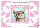 Rainbow Tabby Kitten Cat, Lace Corner Stacker Card Topper