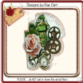 275 Shaped Steampunk Floral Card *HAND & MACHINE Formats*