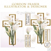 White Lily Cross with Matching Insert Kit
