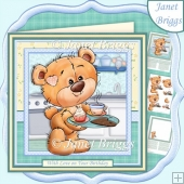 TEDDY BEAR JUST FOR YOU 7.5 Decoupage & Insert Kit