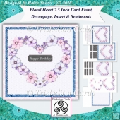 Floral Heart 7.5 Card Front, Decoupage, Insert, Sentiments no.9