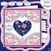 PINK & NAVY FLORAL HEART 7.5 Decoupage Card Kit