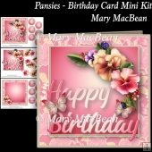 Pansies - Birthday Card Mini Kit