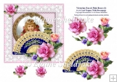 Victorian Fan & Pink Roses (1) - 6 x 6 Card Topper & Decoupage