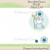Ready to Print Card - Bear with Flowers BLUE(Retiring in July)