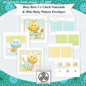 Busy Bees 3 Inch Square Notecards & Daisy Pattern Envelopes