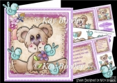 Cute tilly the bear with little blue birds 8x8 mini kit