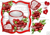 cup of love with red roses and heart