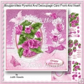 Bougainvillea Pyramid And Decoupage Card Front And Insert