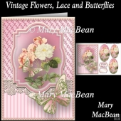 Vintage Flowers, Lace and Butterflies