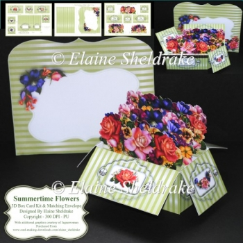 Summertime Flowers - 3D Box Card Kit & Matching Envelope