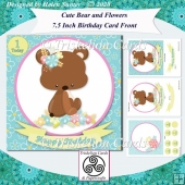 Cute Bear 7.5 Inch Birthday Card Front & Insert Kit & Age Tags