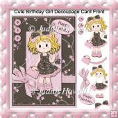 Cute Birthday Girl Decoupage Card Front
