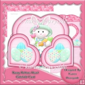 Bunny Buttons Heart Wrap Around Gatefold Card