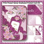 Pink Flower Spray Scalloped Pocket Card Kit