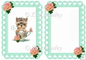 cute terrier in a teacup with roses & bows A5 insert