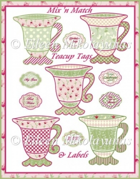Cottage Chic Teacups and Labels Mix 'N Match Embellishments