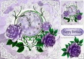 Nearly Midnight! pretty clock with purple roses 8x8