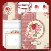 Red and pink roses foldback card set