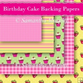 5 Birthday Cake Backing Papers Download (c250)