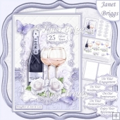 CHAMPAGNE CELEBRATIONS SILVER A5 Decoupage & Insert