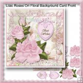 Lilac Roses On Floral Background Card Front