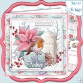 CHRISTMAS ROBIN POINSETTIA & CANDLE 7.5 Decoupage & Insert Kit