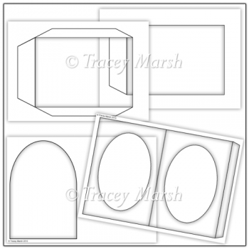 Commercial Use Oval Aperture Pillow Card Template Set