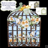 Bluetit In A Gilded Cage - Shaped Cut & Fold Card Plus Insert