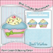 Blue Cupcake Best Wishes PDF Penny Slider Card Download