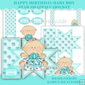 Birthday Baby Boy Star Shaped Card
